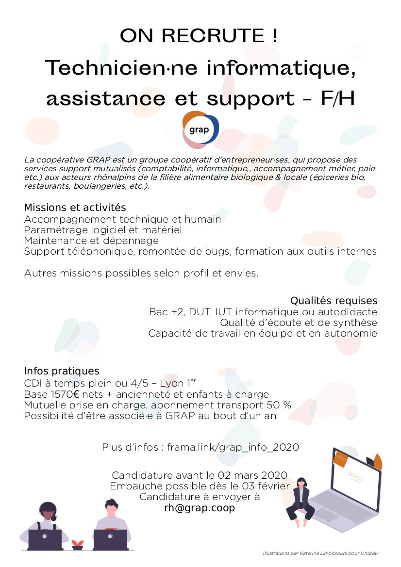 [POURVU] GRAP Recrute Un·e Technicien·ne Informatique, Assistance Et Support – F/H