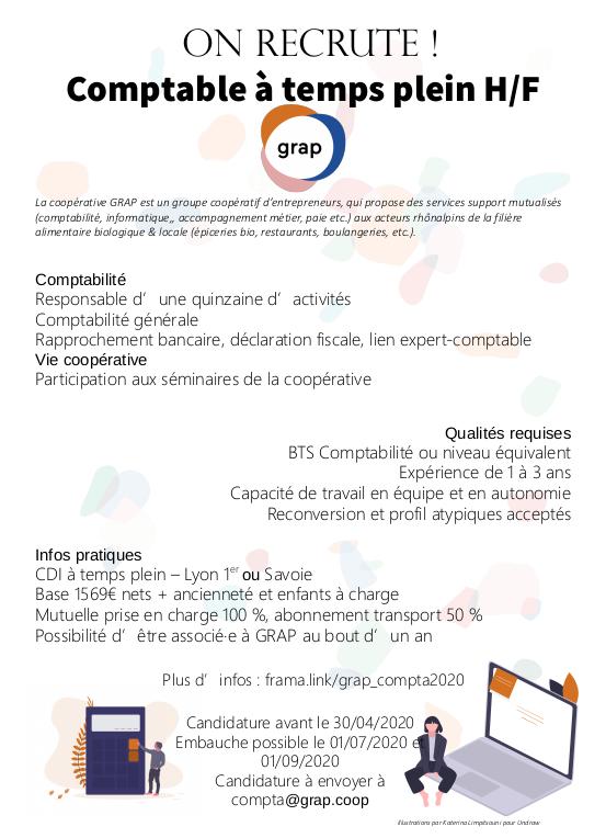 [OFFRE EMPLOI] GRAP Recrute Un·e Comptable En CDI (Lyon Ou Savoie) à Partir De Juillet 2020