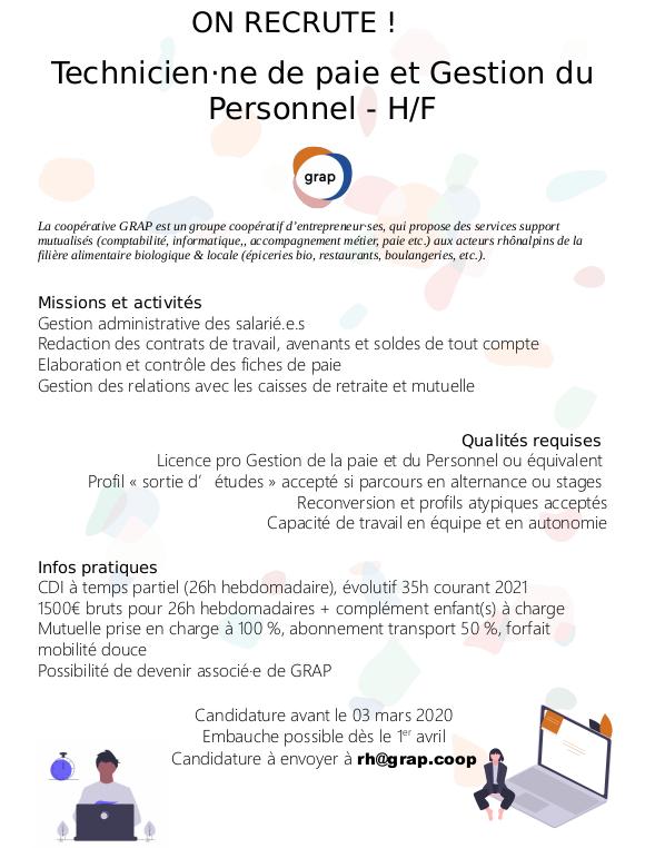 [EMPLOI POURVU] Technicien.ne Paie Et Gestion Du Personnel – H/F (Lyon)