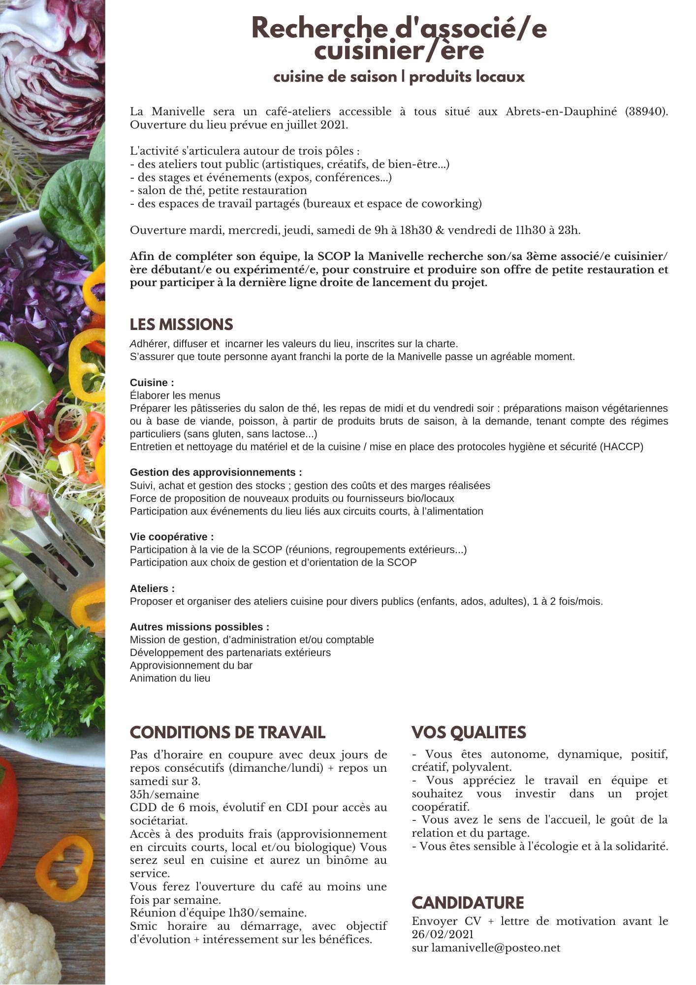 [RECHERCHE ASSOCIÉ·E] Le Projet De Café-ateliers La Manivelle (38) Cherche Un·e Associé·e Cuisinier·e